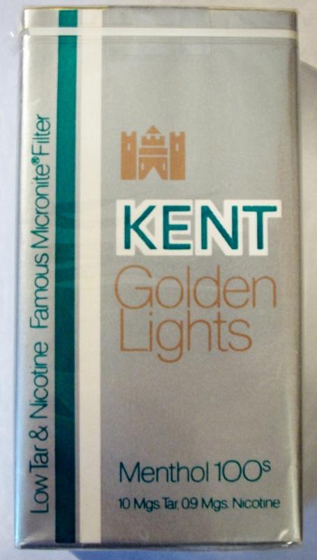 Kent Golden Lights Menthol 100's - vintage American Cigarette Pack