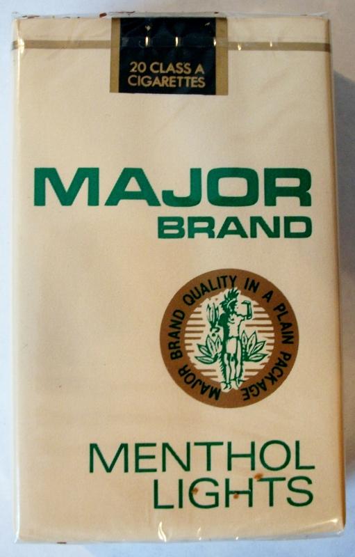 Major Brand Menthol Lights - vintage American Cigarette Pack