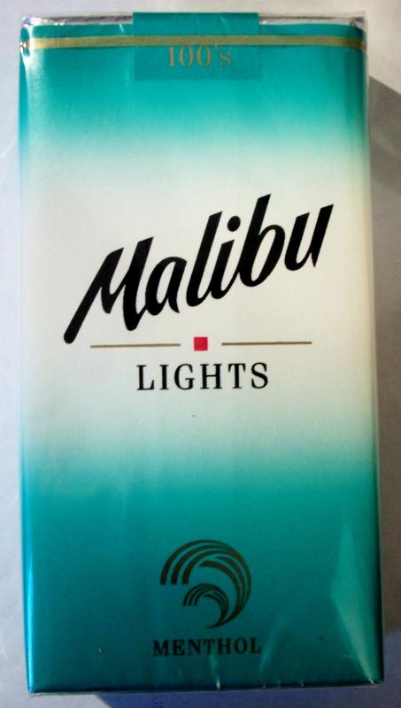 Malibu Lights Menthol 100's - vintage American Cigarette Pack