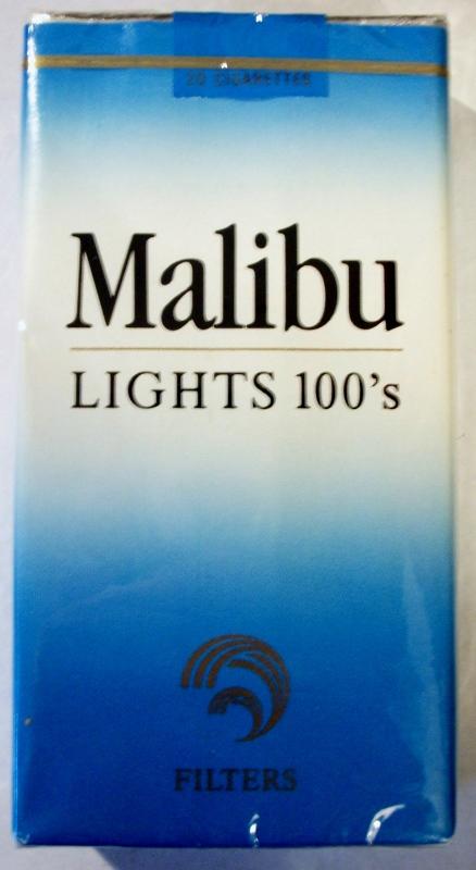Malibu Lights 100's Filters - vintage American Cigarette Pack