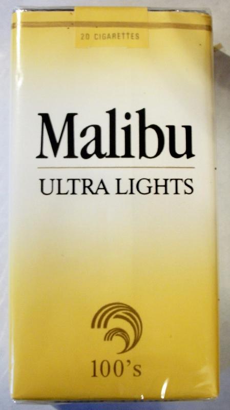 Malibu Ultra Lights 100's - vintage American Cigarette Pack