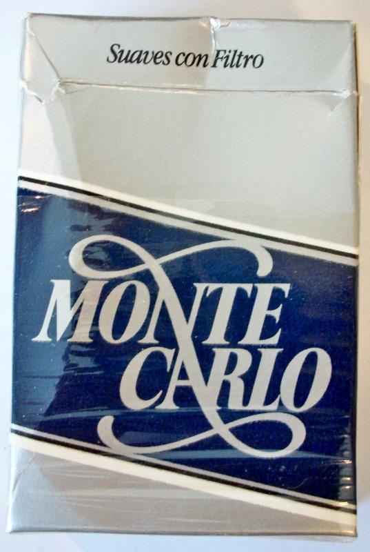 Monte Carlo suaves con filtro - vintage Colombian Cigarette Pack