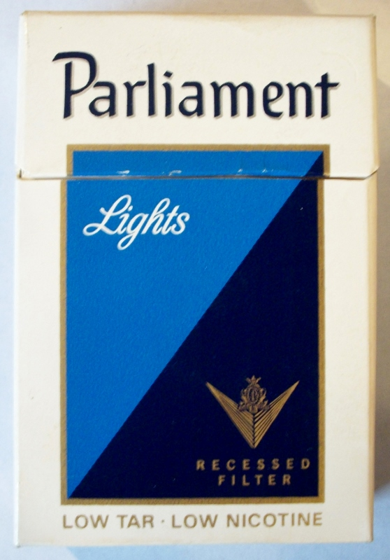 Parliament Lights, Recessed Filter box - vintage American Cigarette Pack