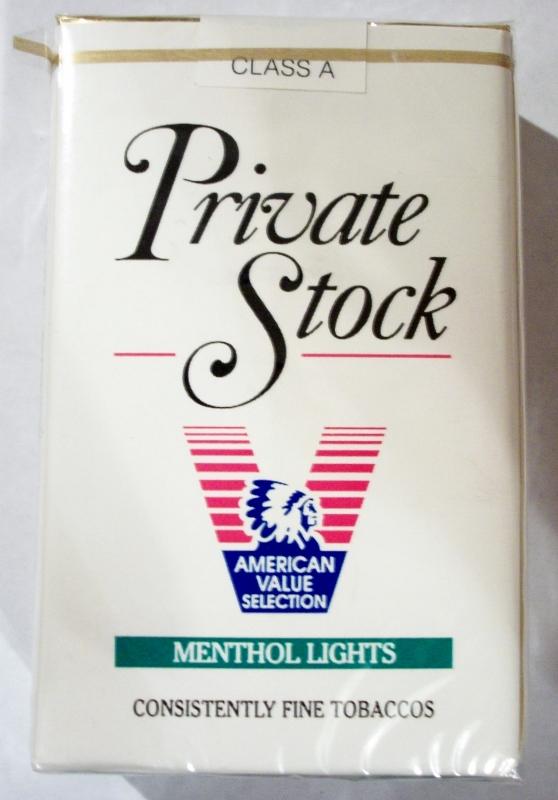 Private Stock Menthol Lights, King Size - vintage American Cigarette Pack