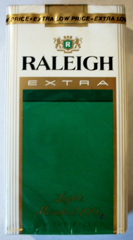 Raleigh Extra Lights Menthol 100's - vintage American Cigarette Pack
