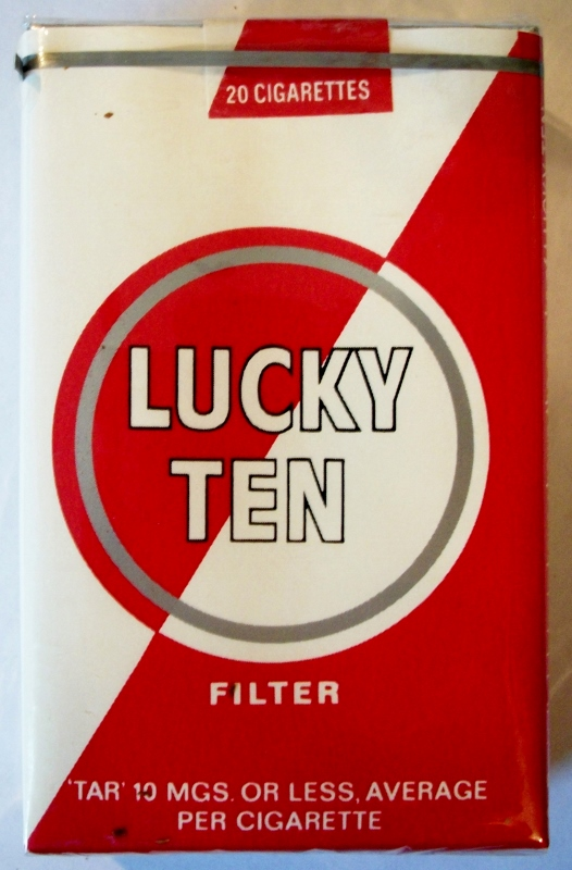 Lucky Ten Filter, King Size - vintage American Cigarette Pack