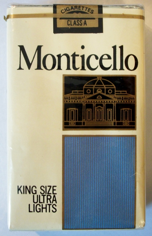 Monticello King Size Ultra Lights - vintage American Cigarette Pack