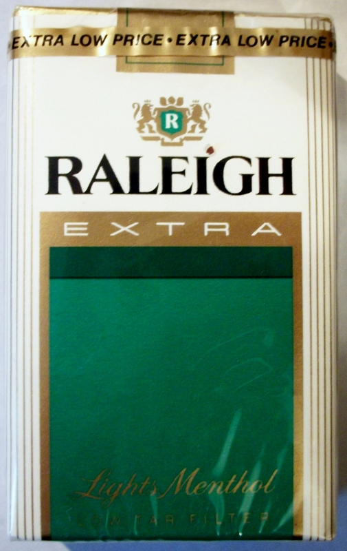Raleigh Extra Lights Menthol, King Size - vintage American Cigarette Pack (pack 2)