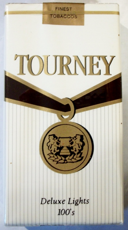Tourney Deluxe Lights 100's - vintage American Cigarette Pack