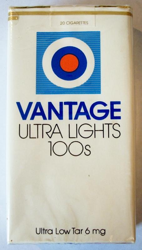 Vantage Ultra Lights 100's - vintage American Cigarette Pack (version 3)