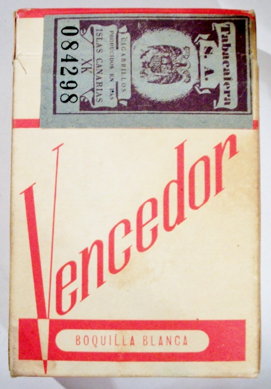 Vencedor Extra Filtro, Boquilla Blanca - vintage Spanish and Canary Islands Cigarette Pack