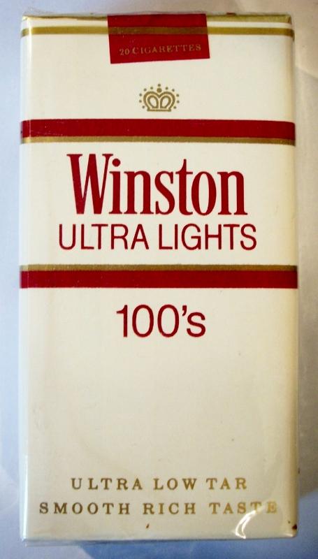 Winston Ultra Lights 100's - vintage American Cigarette Pack