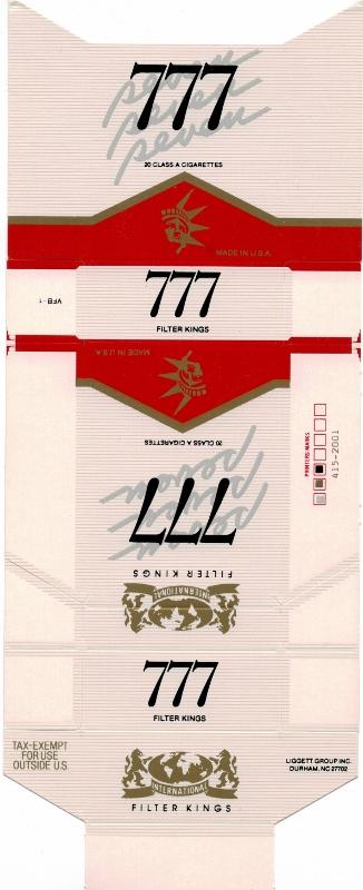 777 International Filter Kings - vintage American Cigarette Pack
