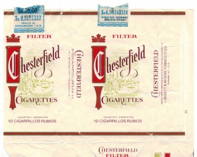 Chesterfield Filter 10-pack - vintage Argentinian Cigarette Pack