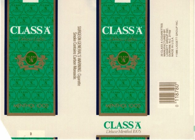 Class 'A' Deluxe Lights Menthol 100's - vintage American Cigarette Pack