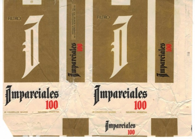Imparciales 100s Filtro - vintage Argentinian Cigarette pack, version 1