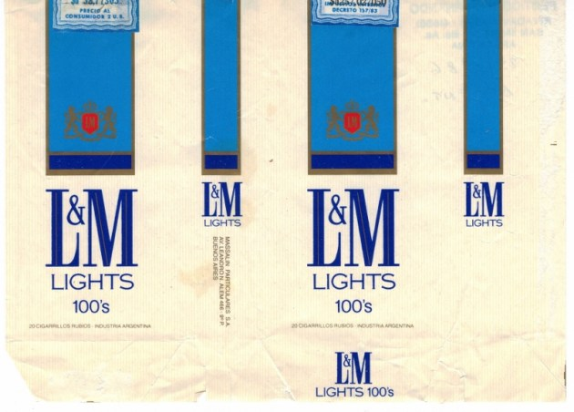 L&M Lights 100's - vintage Argentinian Cigarette Pack