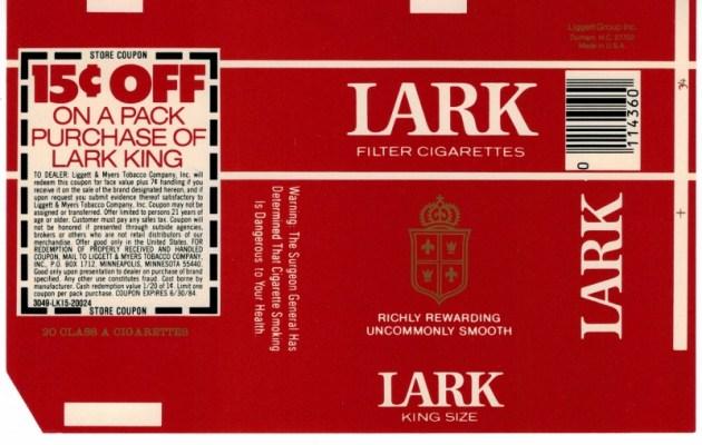 Lark Filter King Size w/ coupon - vintage American Cigarette Pack