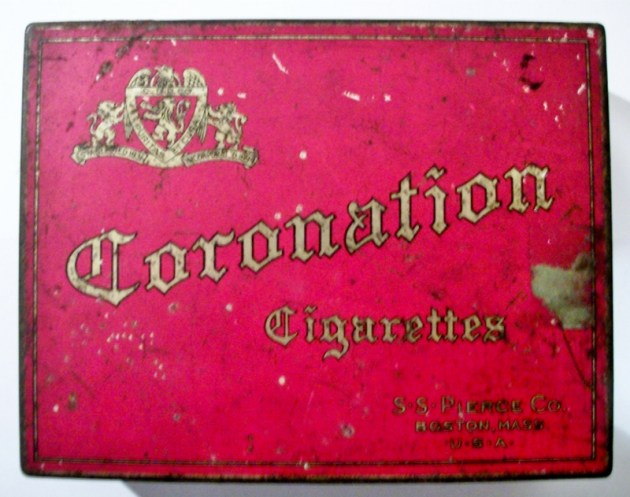 Coronation Cigarettes 100 tin S. S.  Pierce Co.