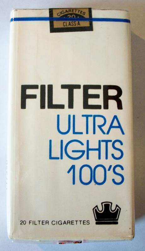 Filter Ultra Lights 100's - vintage American Cigarette Pack