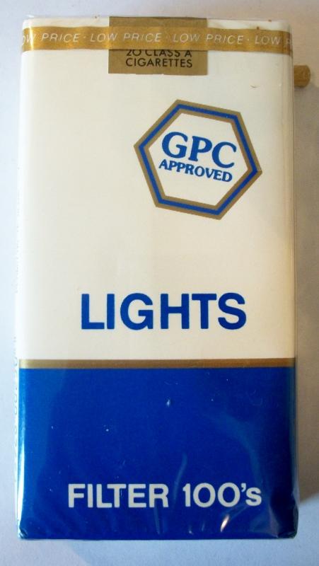 GPC Lights Filter 100's - vintage American Cigarette Pack