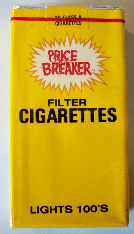 Price Breaker Filter Lights 100's - vintage American Cigarette Pack