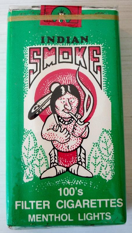 Indian Smoke 100s menthol lights - vintage American Cigarette Pack