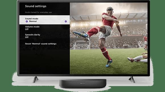 Image of sound settings menu on Roku Smart Soundbar