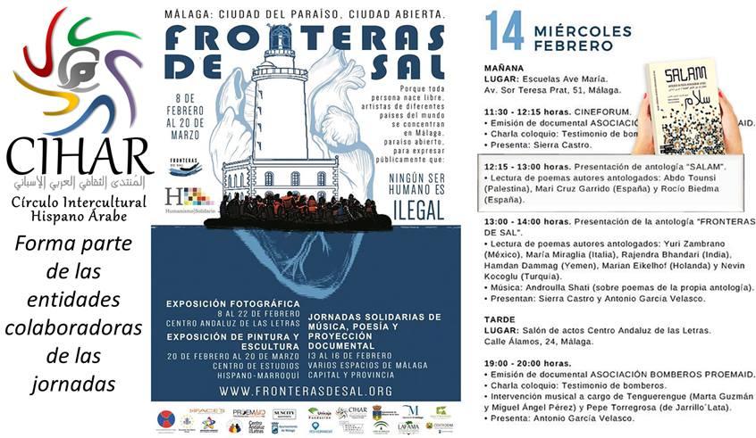 La antología SALAM en Las jornadas de «Fronteras de sal» Málaga
