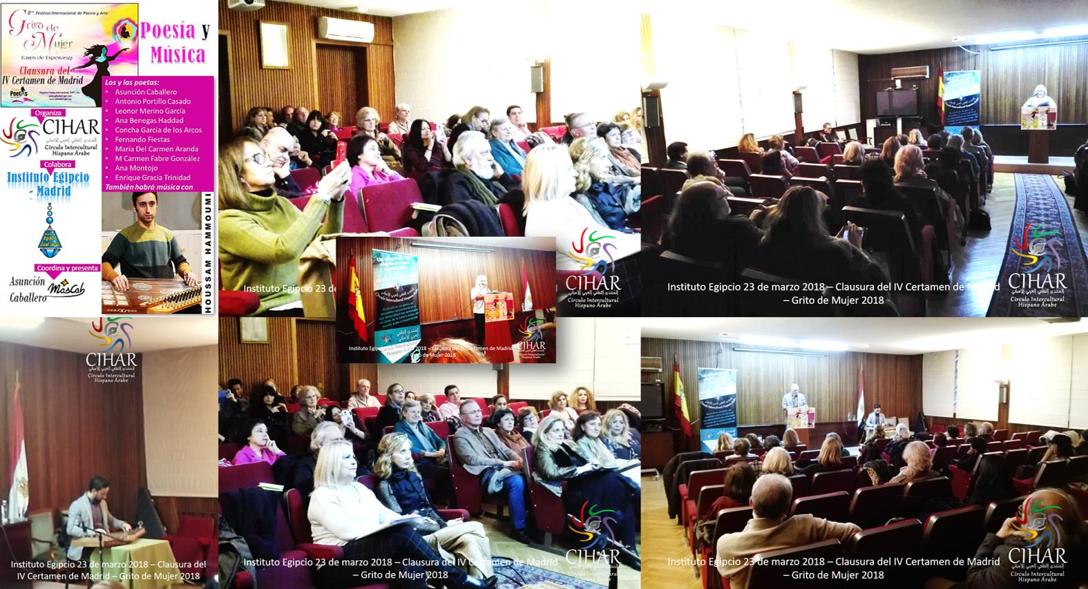 CIHAR organiza la clausura del IV Certamen de Madrid – Grito de Mujer