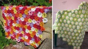 Квіткова галявина: дивовижно красиві пледи із в'язаних квітів (майстер-класи)