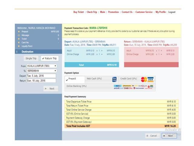 Buat Pembayaran - Tiket Bas Online