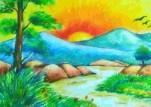 cara+menggambar+pemandangan+alam