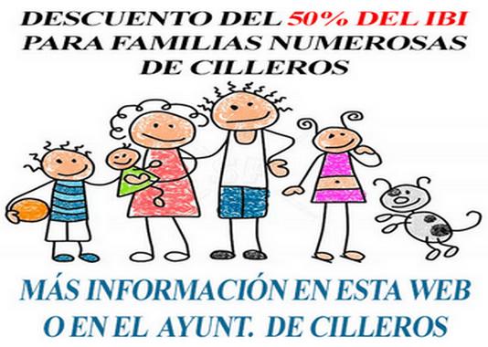 50% DE DESCUENTO EN EL I.B.I. PARA FAMILIAS NUMEROSAS DE CILLEROS