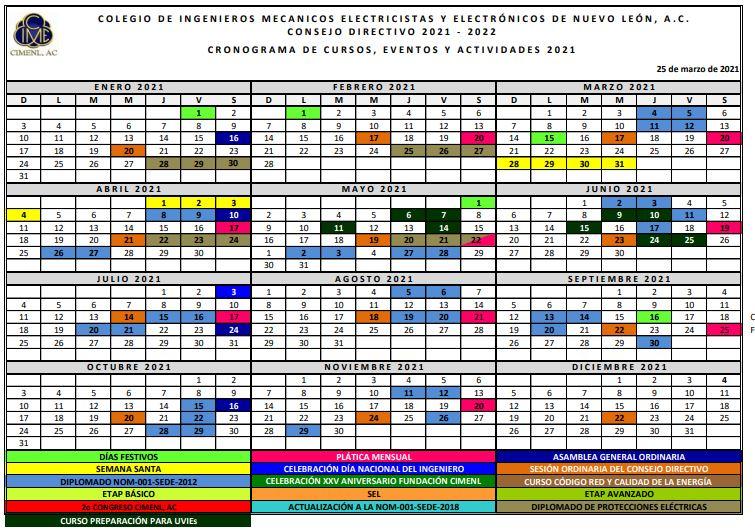 2021-03-25 CIMENL Cronograma Eventos y Actividades 2021-2022