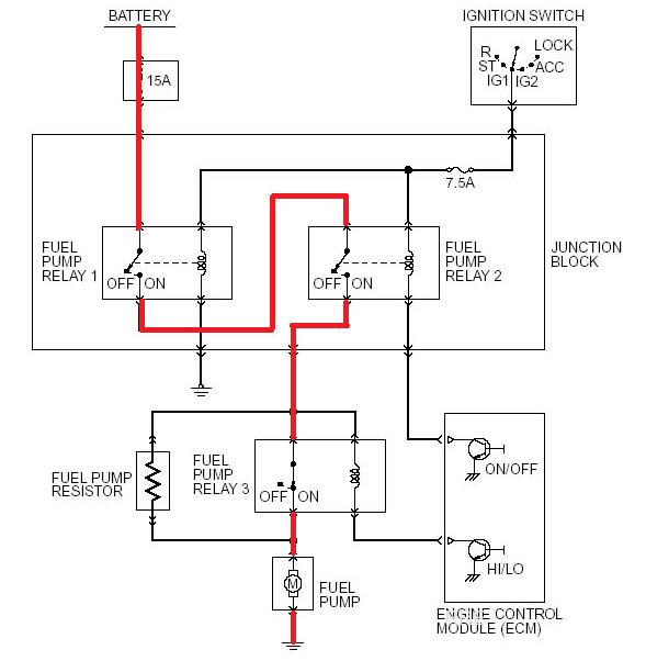 fuel relay 3 plug/wire color code diagram  evolutionm
