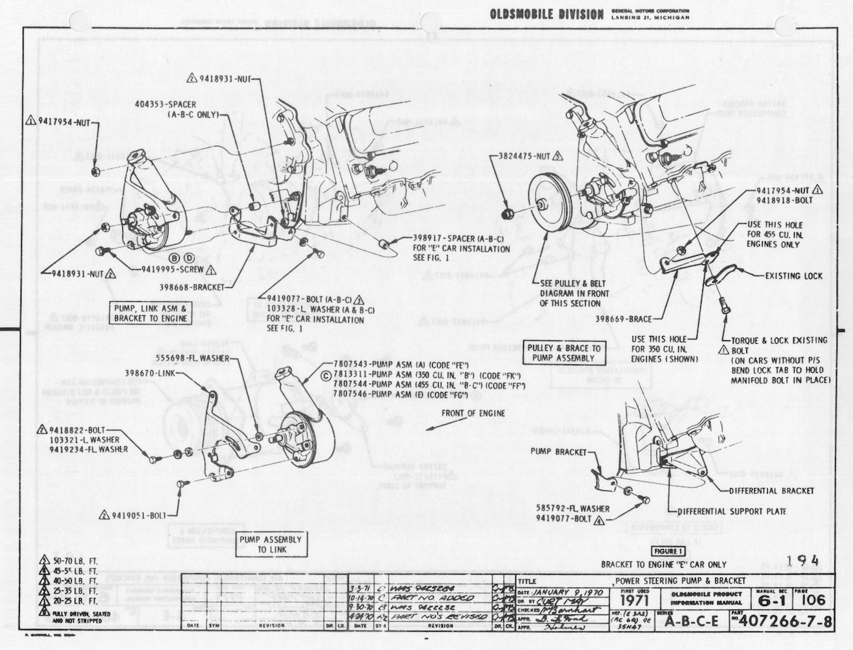 Chevy 350 Power Steering Bracket Diagram