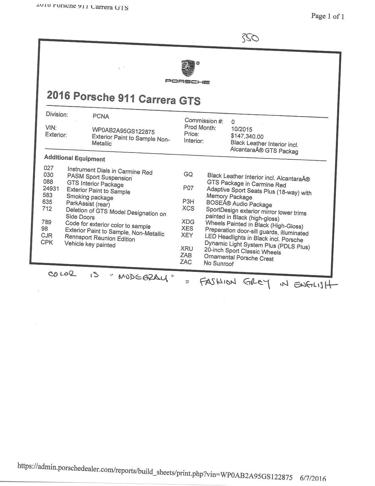 Porsche 911 Gts Rennsport Reunion Edition 1 Of 25