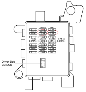 Fuse location for LS430 puddle light in the door mirror