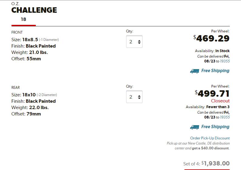z51 track wheels oz racing challenge 18