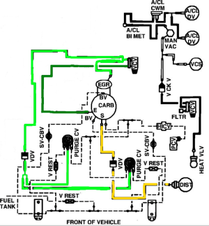 74 f100 factory vacuum and emissions diagrams (302)  Ford