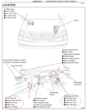 Fuse location for LS430 puddle light in the door mirror  Club Lexus Forums