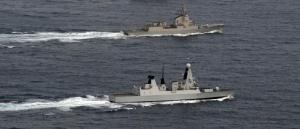 Royal Navy destroyer HMS Dauntless, the Spanish navy air defense frigate Almirante Juan de Borbon operate together