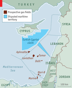 Prospective gas fields and disputed maritime boundaries (The Economist)