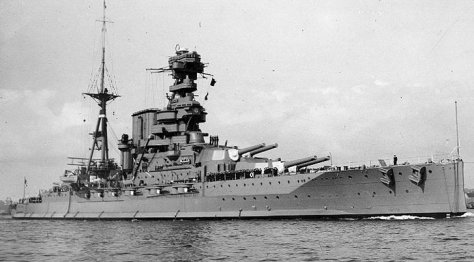 HMS BARHAM, a QUEEN ELIZABETH class Battleship, one of the Royal Navy's first oil-powered ships