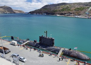 The HMCS Corner Brook at sea, sort of