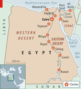 Sites of the clashes between protesters and security forces (The Economist)