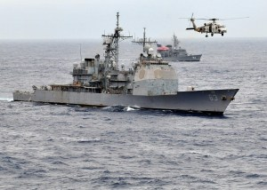 The Mighty Moo, USS Cowpens, maneuvering with the deftness of its heifer namesake.