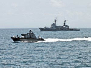 Cameroon Navy patrol boat LE LOGONE (foreground) and the Nigerian flagship NNS THUNDER during Exercise OBANGAME EXPRESS 2014 (Photo: Dirk Steffen)