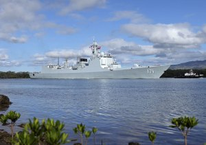 Chinese People's Liberation Army Navy (PLAN) destroyer Haikou (171) at Joint Base Pearl Harbor-Hickam in Hawaii